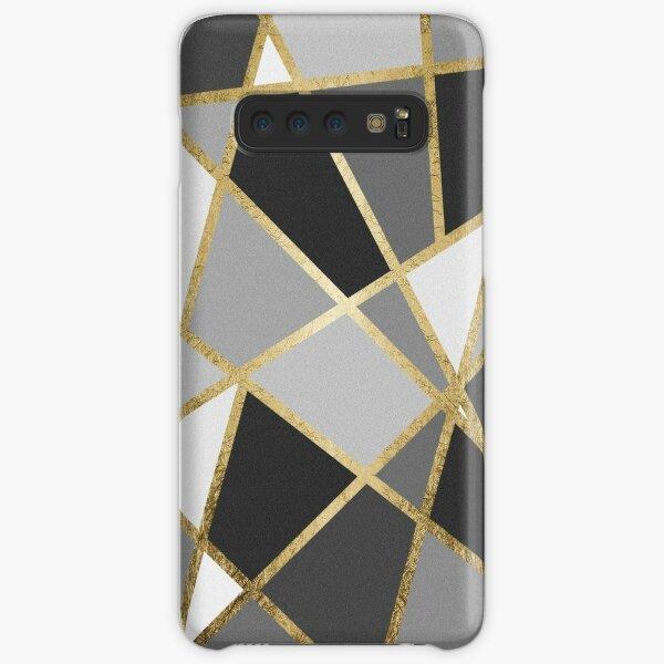 Black & Gray Modern Geo Gold Triangles Samsung Galaxy Snap Case