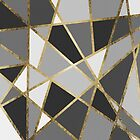 Black & Gray Modern Geo Gold Triangles by Blkstrawberry