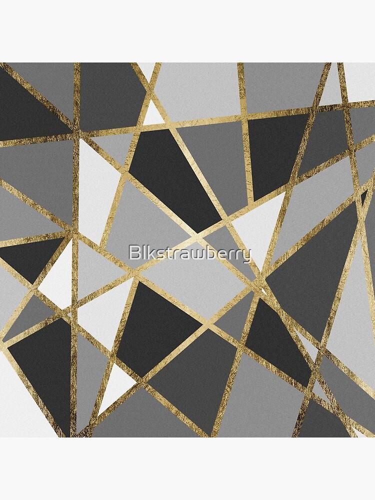 Black & Gray Modern Geo Gold Triangles by Blkstrawberry