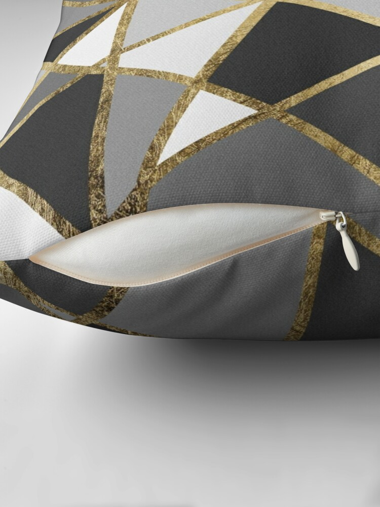 Alternate view of Black & Gray Modern Geo Gold Triangles Throw Pillow
