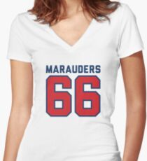 Marauders 66 Grey Jersey Women's Fitted V-Neck T-Shirt