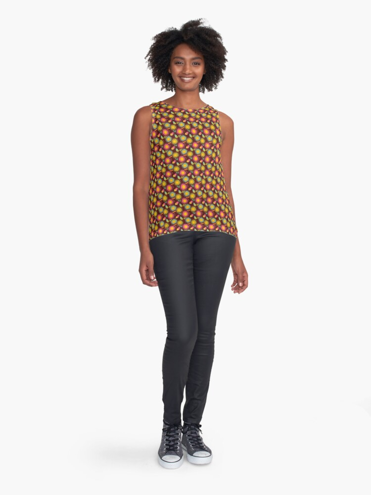 Alternate view of Brown Floral Pattern Sleeveless Top