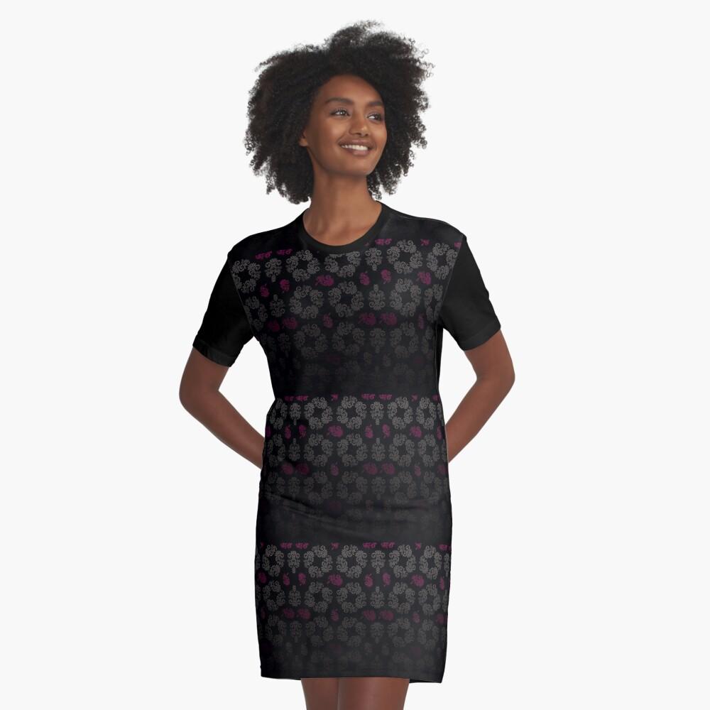 Black floral pattern Graphic T-Shirt Dress