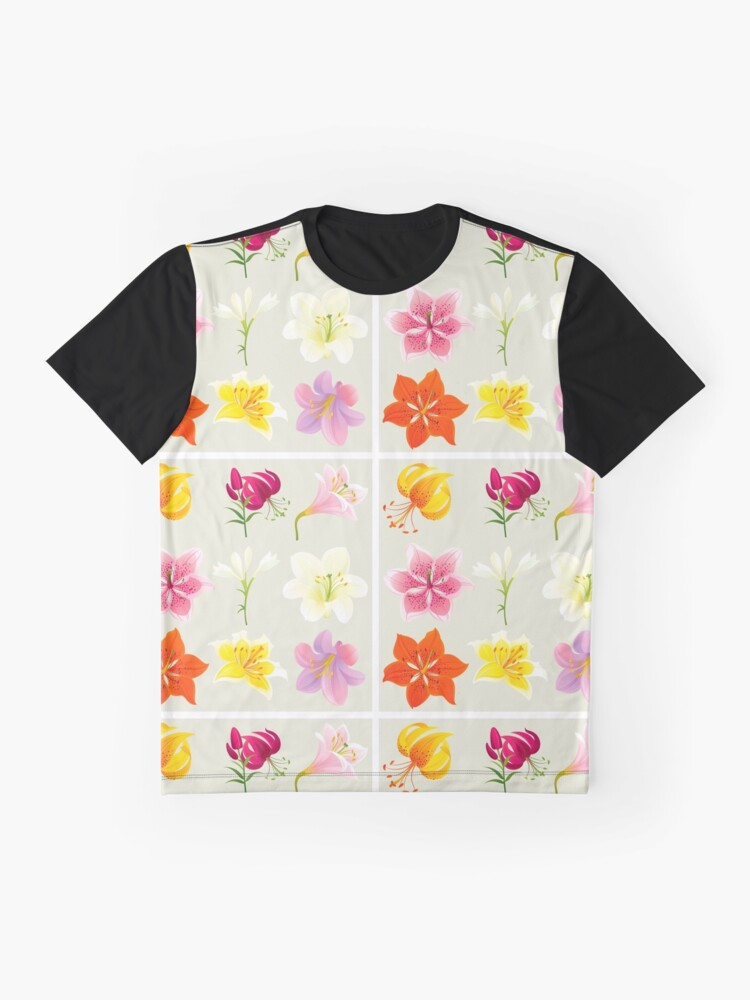 Alternate view of Colorful Lilies Graphic T-Shirt
