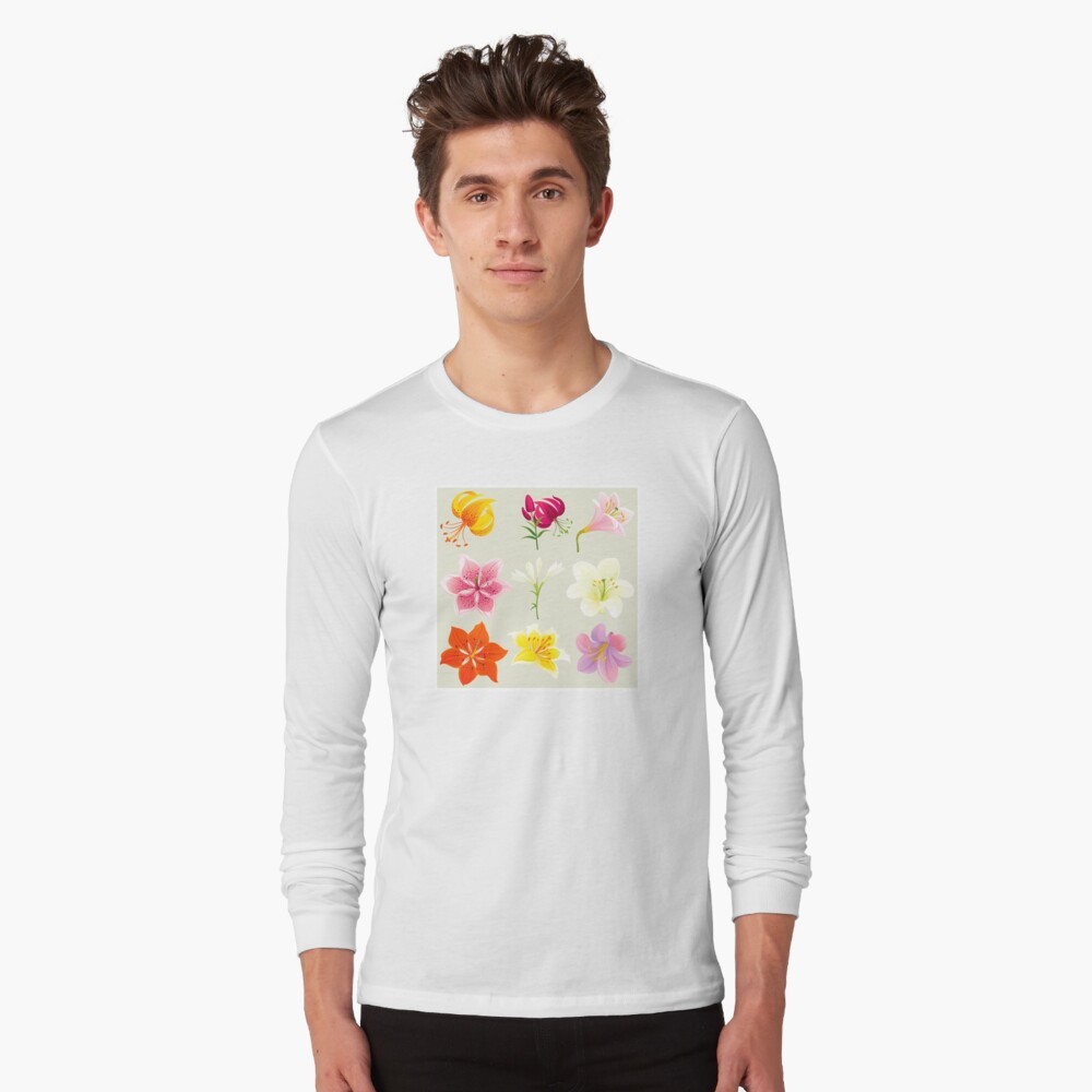 Colorful Lilies Long Sleeve T-Shirt