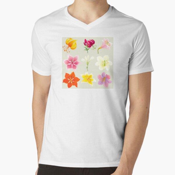Colorful Lilies V-Neck T-Shirt