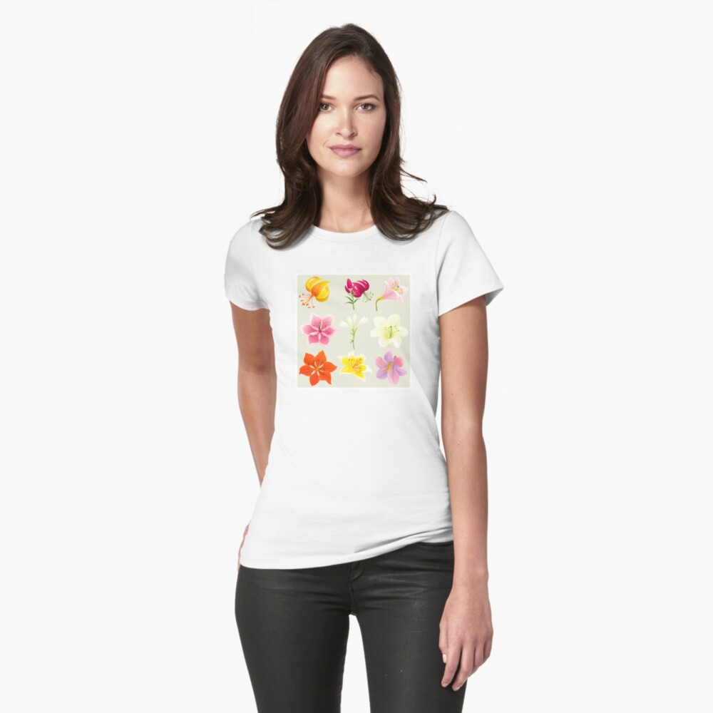 Colorful Lilies Fitted T-Shirt