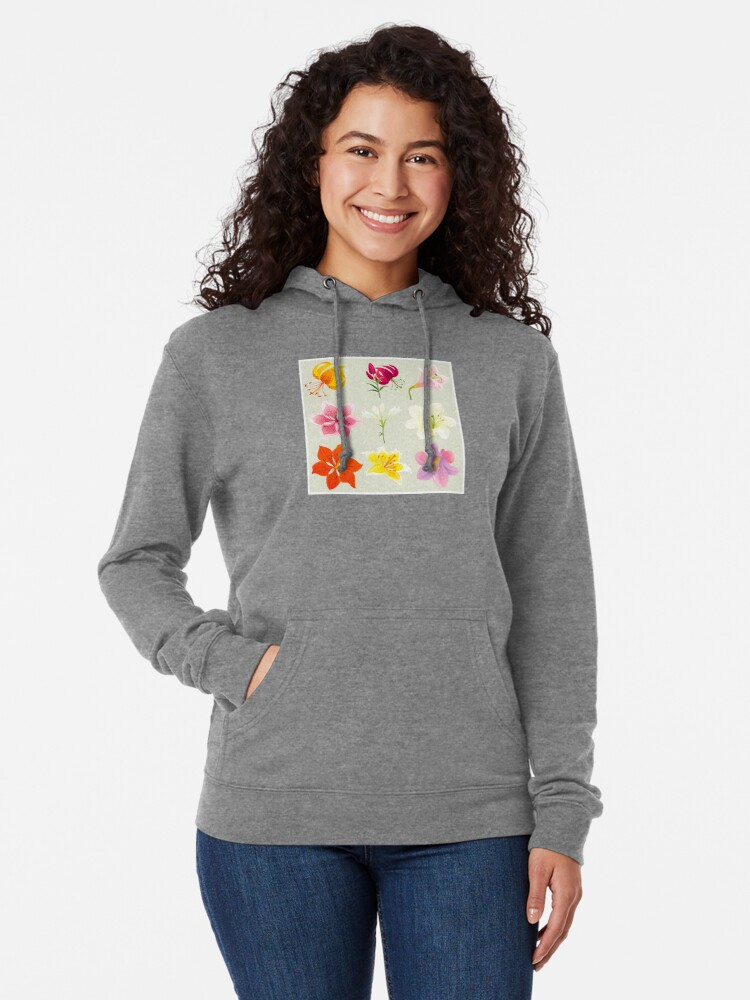 Alternate view of Colorful Lilies Lightweight Hoodie