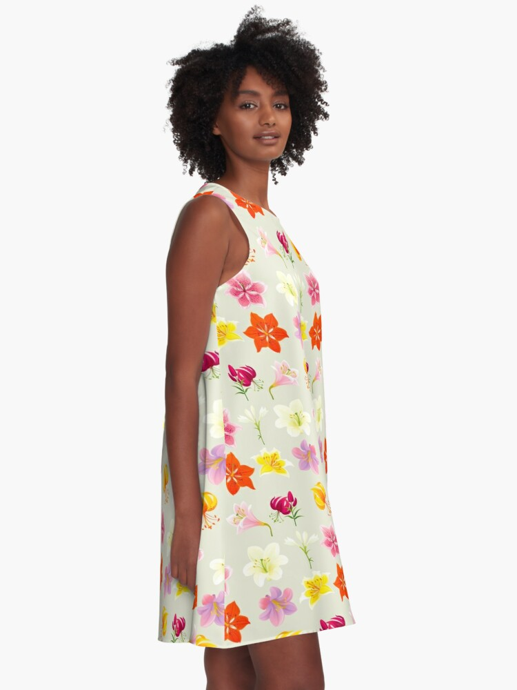 Alternate view of Colorful Lilies A-Line Dress