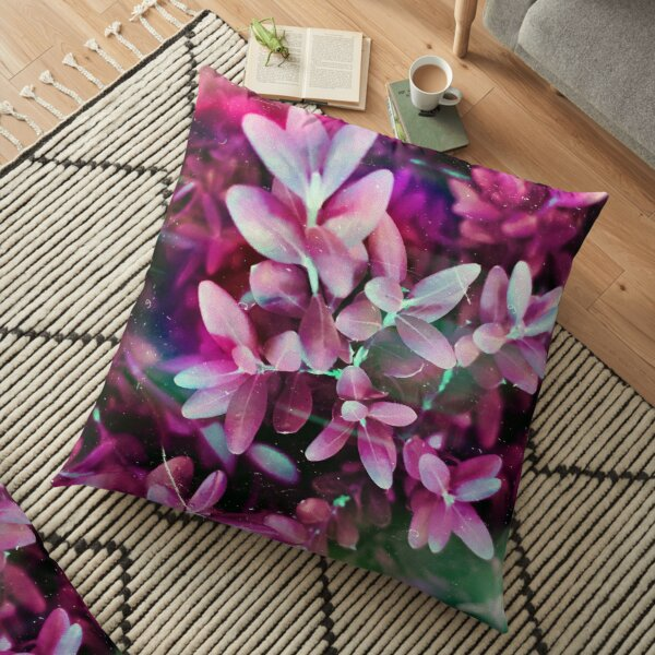 Pretty Pink Leaves In the Garden Floor Pillow