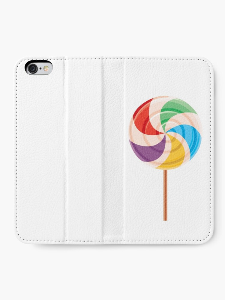 Alternate view of Colorful Lollypop on White iPhone Wallet