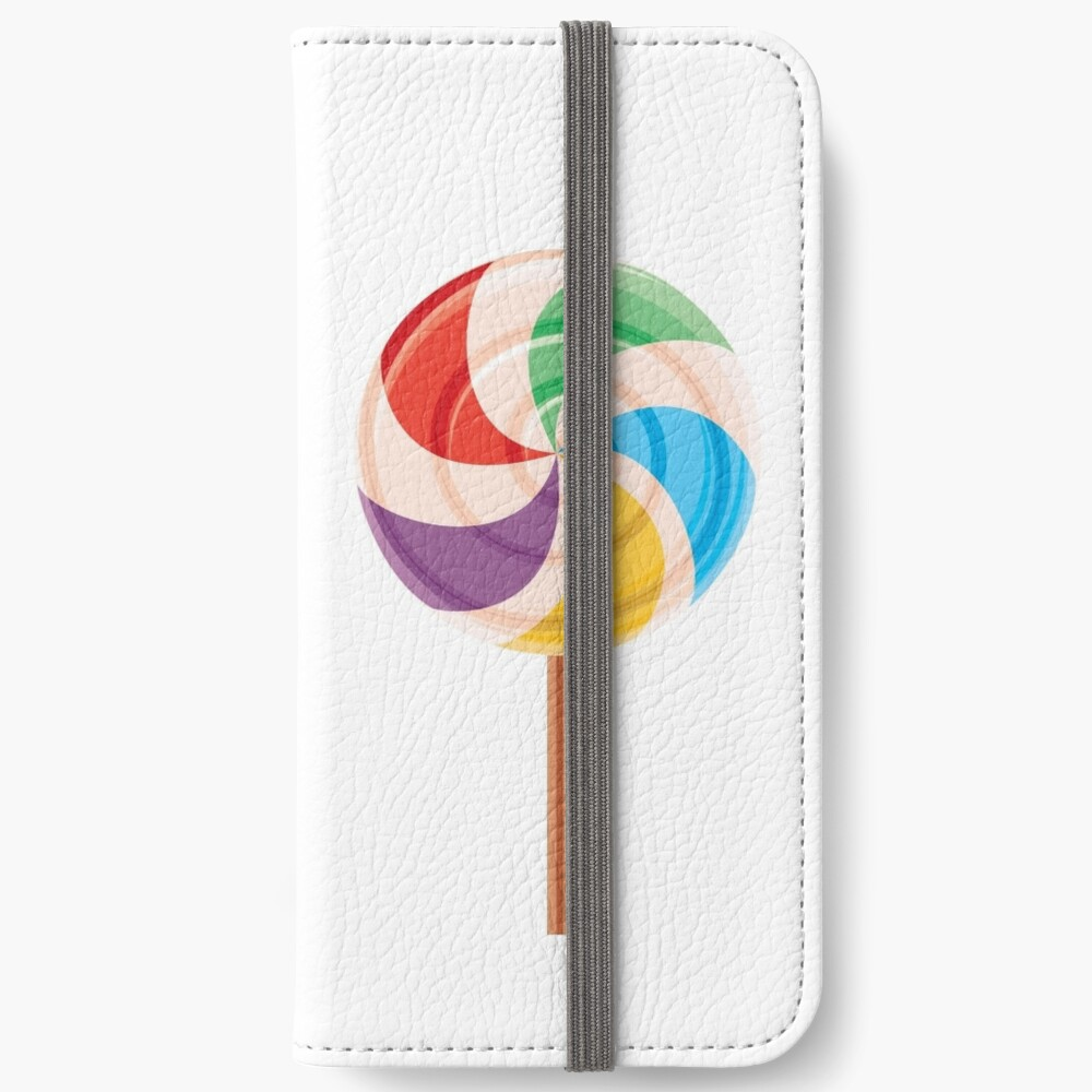 Colorful Lollypop on White iPhone Wallet