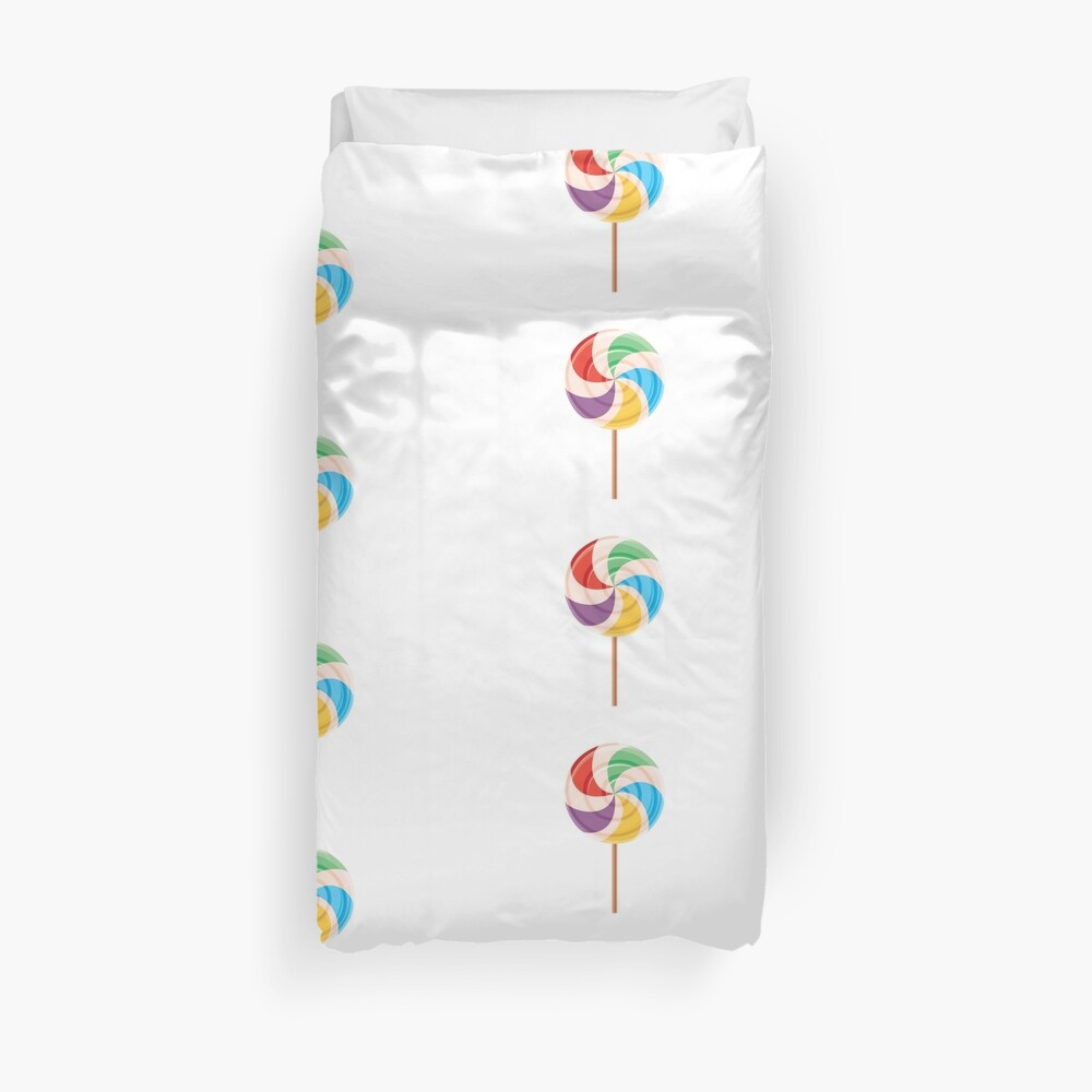 Colorful Lollypop on White Duvet Cover