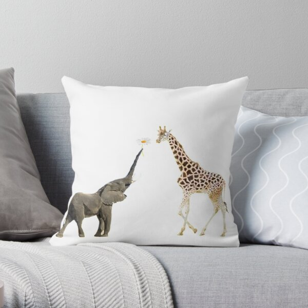 The giraffe and the elephant Throw Pillow