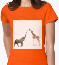 The giraffe and the elephant Womens Fitted T-Shirt