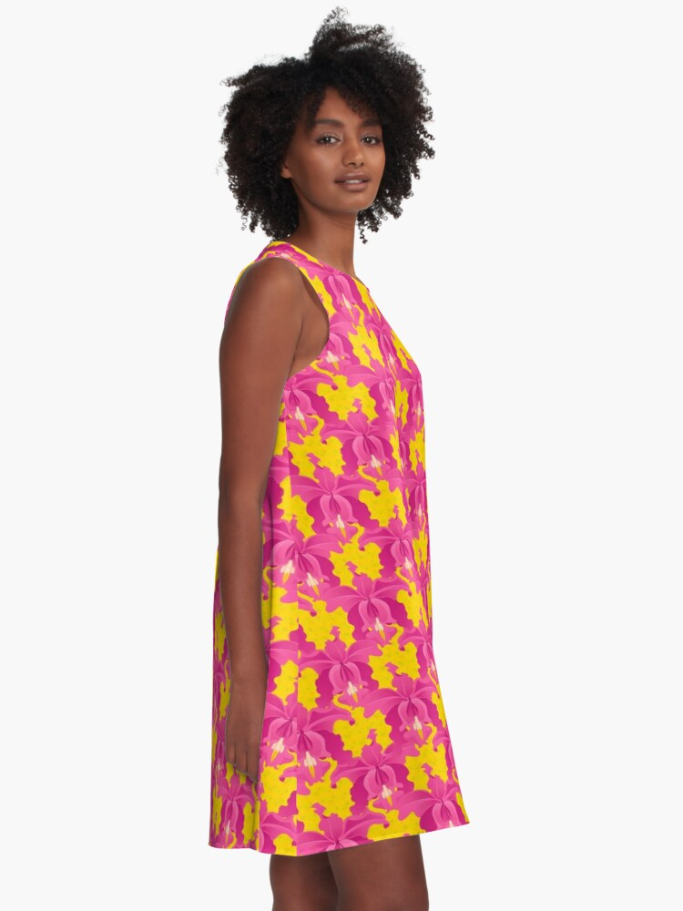 Alternate view of Pink Orchids A-Line Dress