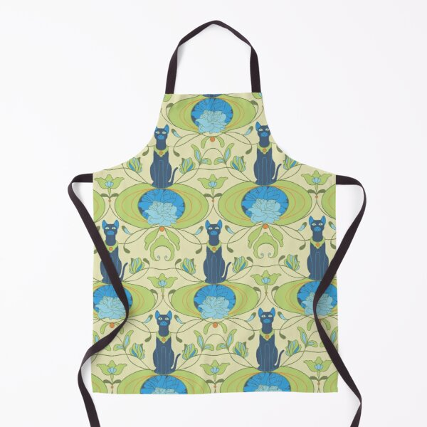 Cats with blue lotus Apron