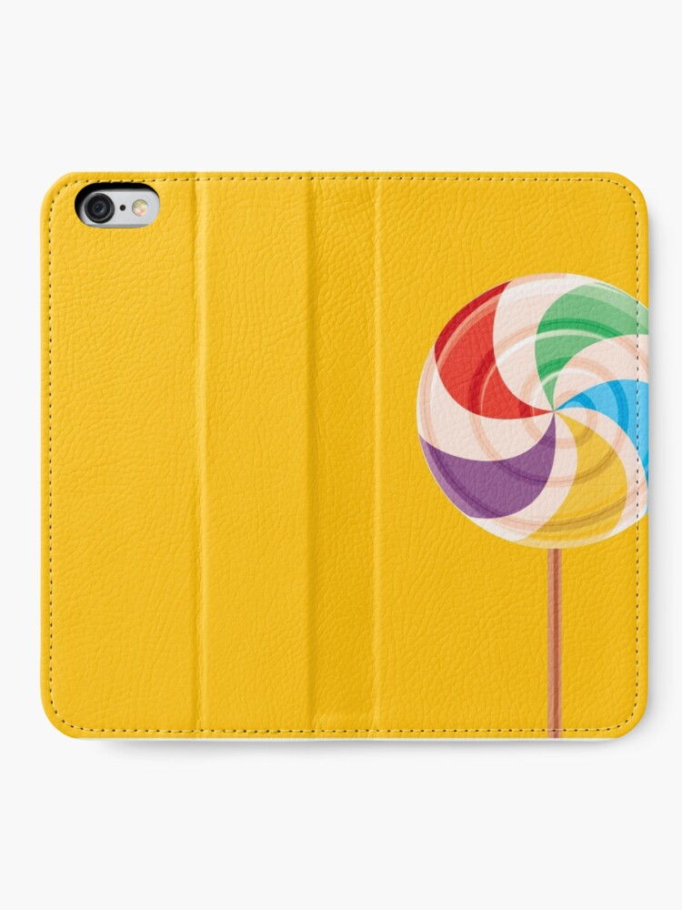 Alternate view of Colorful Lollypop on Yellow iPhone Wallet