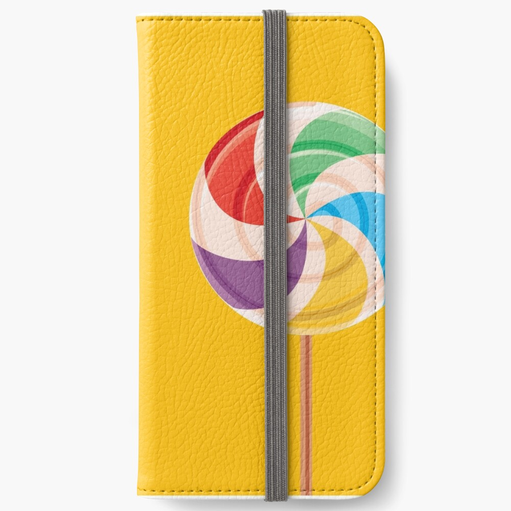 Colorful Lollypop on Yellow iPhone Wallet