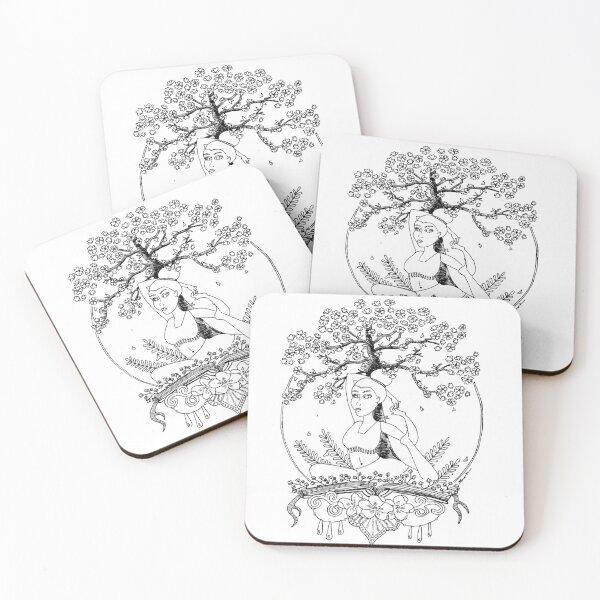 Cherry Blossom Vinyasa Coasters (Set of 4)