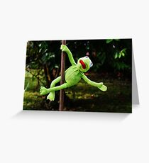 Kermit the frog on a pole Greeting Card