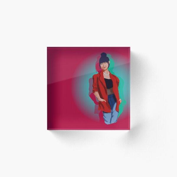 Neon Lights - Cherry Red Acrylic Block
