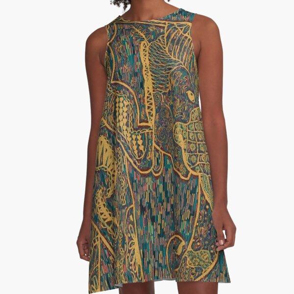 Zentangle Elephant Gold A-Line Dress