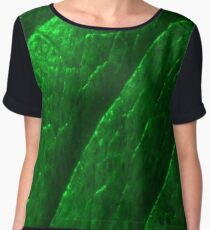 Green Metalic Leaf Women's Chiffon Top