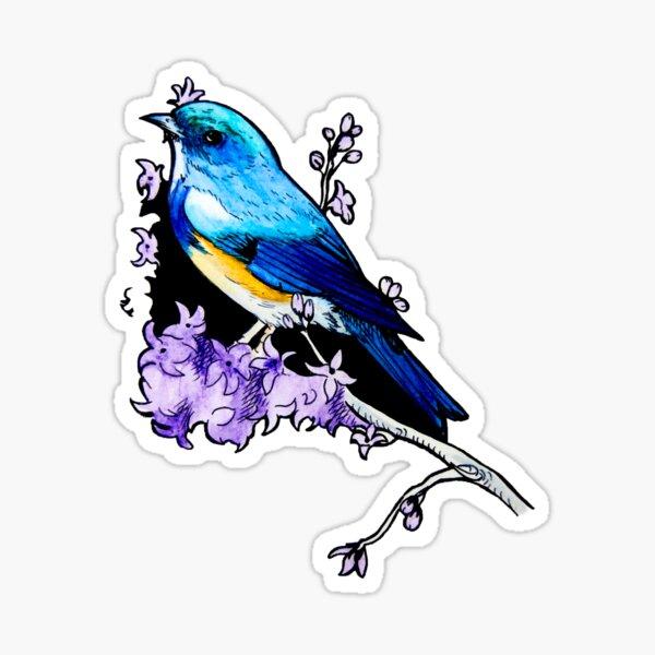 Blauer Vogel in Aquarell Sticker