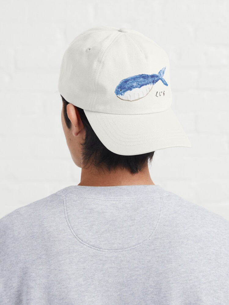 """Alternate view of """"Kujira"""" Whale Watercolour Painting Cap"""