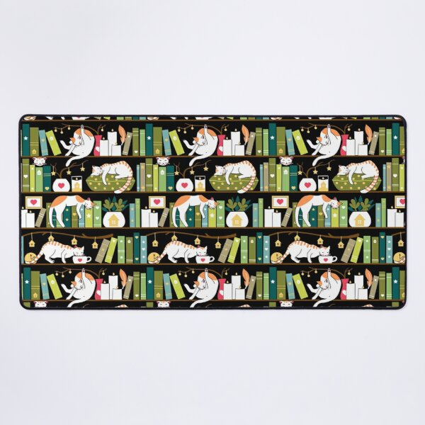 Library cats - whimsical cats on the book shelves  Desk Mat