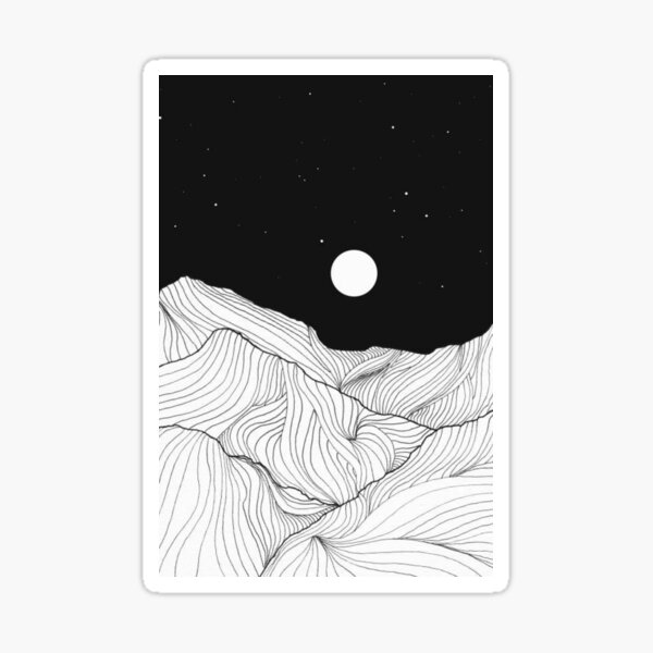 Lines In The Mountains Art Sticker