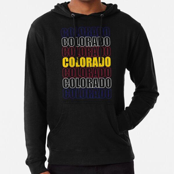 Colorado Text Flag on Black Lightweight Hoodie