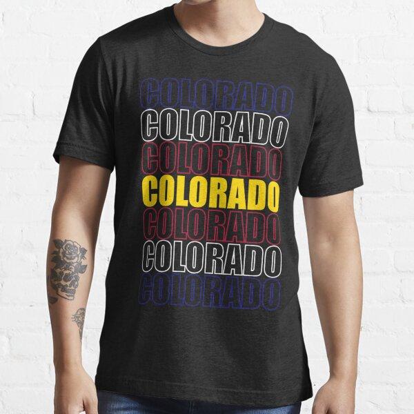 Colorado Text Flag on Black Essential T-Shirt