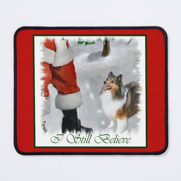 Shetland Sheepdog Sheltie Meets Santa Christmas Gifts Mouse Pad