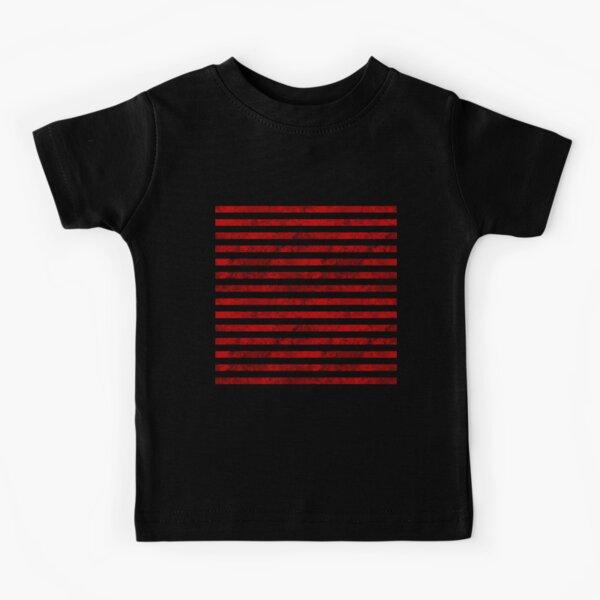 Red Stripes Horizontal Lines Prison Jail Pattern Kids T-Shirt