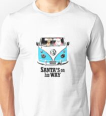 VW Camper Santa Father Christmas On Way Bright Blue T-Shirt