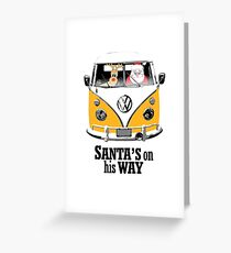 VW Camper Santa Father Christmas On Way Orange Greeting Card