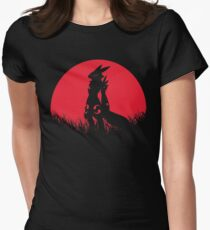 Red Moon Renamon Fox Animal Digital Monster Womens Fitted T-Shirt