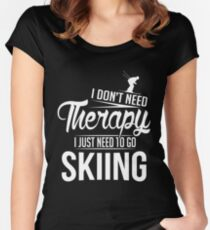 Skiing is my therapy Women's Fitted Scoop T-Shirt