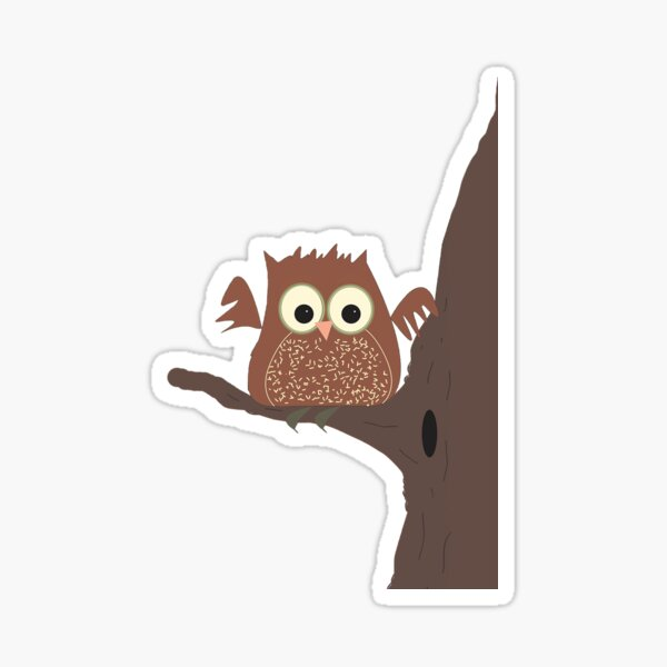Whimsical Owl On Tree Branch Glossy Sticker
