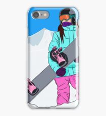 Snowboarder girl in mountain iPhone Case/Skin