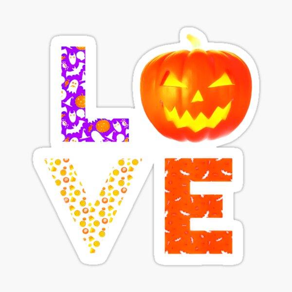 Halloween Trick Treat Love Halloween Pattern Sticker