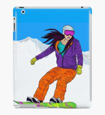 Snowboarder girl in mountain iPad Case/Skin