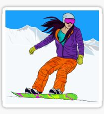 Snowboarder girl in mountain Sticker