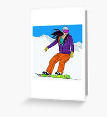 Snowboarder girl in mountain Greeting Card