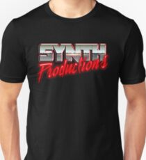 """Chrome Synthwave Logo """"Synth Productions"""" T-Shirt Unisex"""