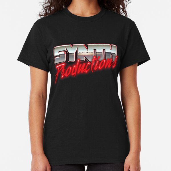 """Chrome Synthwave Logo """"Synth Productions"""" Classic T-Shirt"""