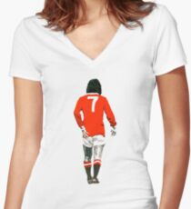 Gorgeous George Best Tribute Manchester United No.7 Women's Fitted V-Neck T-Shirt
