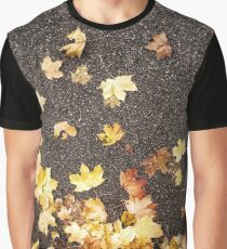 Gold yellow maple leaves autumn asphalt road Graphic T-Shirt